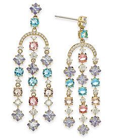 Eliot Danori 18k Gold-Plated Multi-Crystal Chandelier Earrings, Created for Macy's