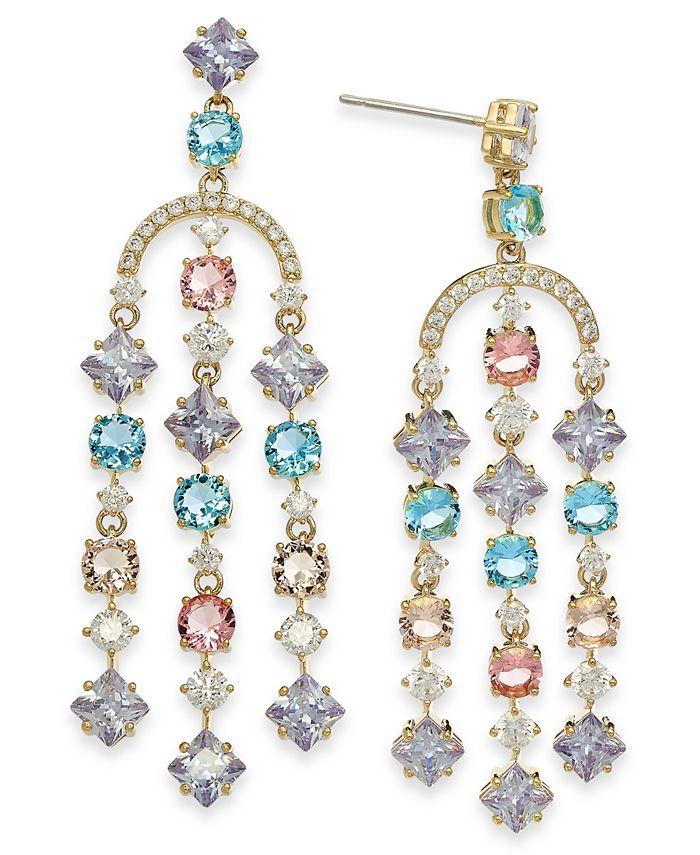 Eliot Danori - 18k Gold-Plated Multi-Crystal Chandelier Earrings