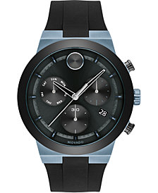Movado Men's Swiss Chronograph BOLD Black Silicone Strap Watch 44mm
