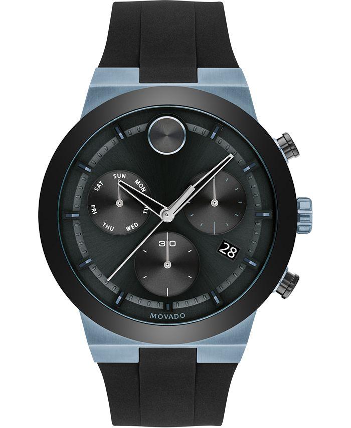 Movado - Men's Swiss Chronograph BOLD Black Silicone Strap Watch 44mm