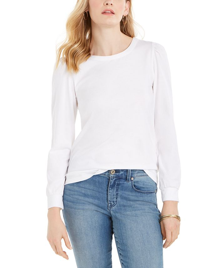 Charter Club - Puff-Sleeve Cotton Top, Created For Macy's
