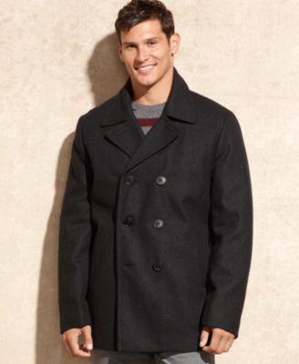 Tommy Hilfiger Coat, Melton Wool-Blend Peac
