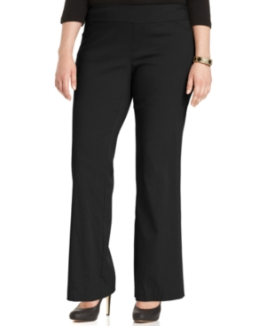 Agb Plus Size Pull-On Bootcut Trousers