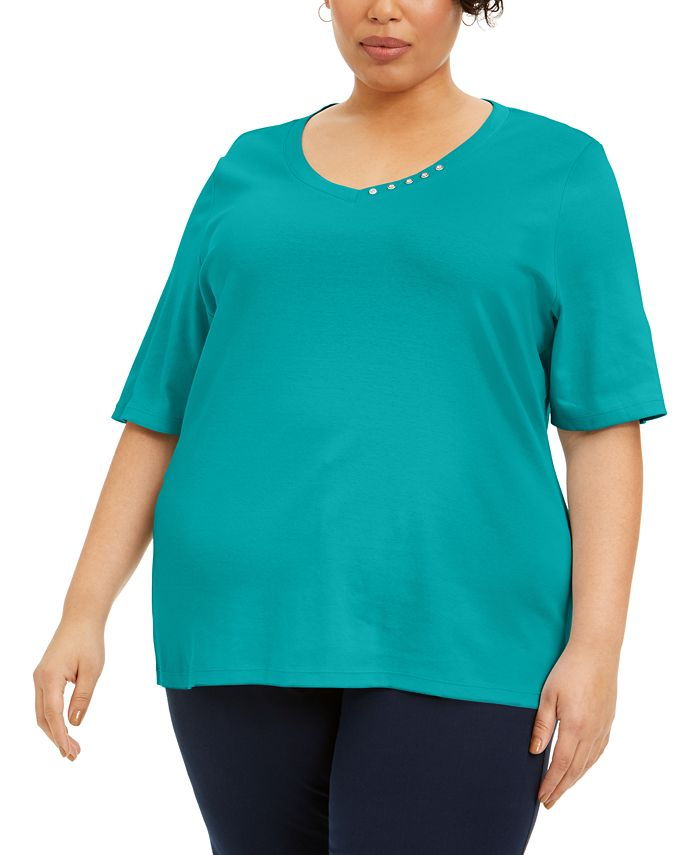 Karen Scott - Plus Size Cotton V-Neck Top