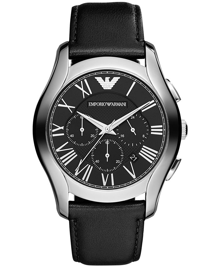 Emporio Armani - Watch, Men's Chronograph Black Leather Strap 45mm AR1700