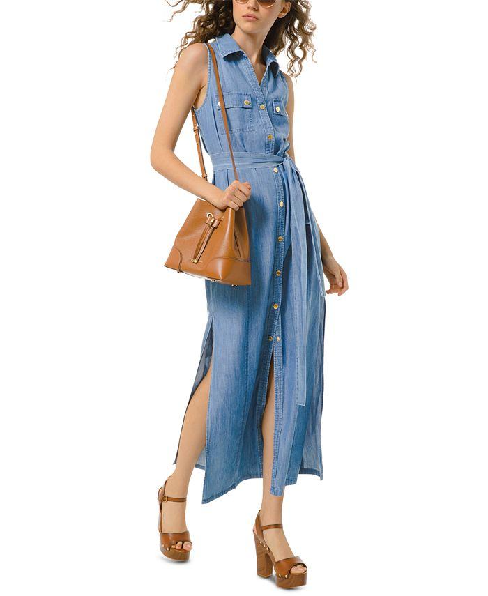 Michael Kors Denim Shirtdress & Reviews - Dresses - Women - Macy's