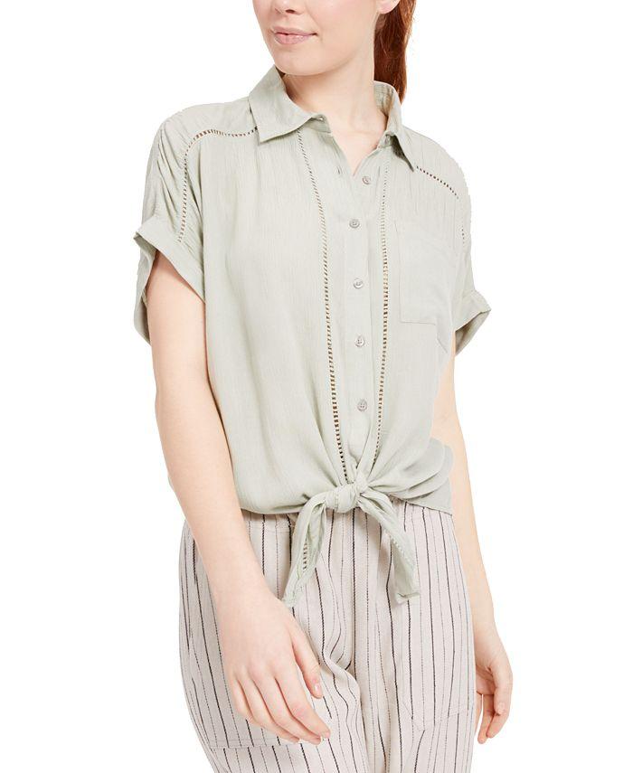 Planet Gold - Juniors' Tie-Front Button-Up Shirt