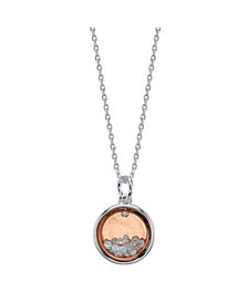"""Unwritten Two-Tone Fine Plated Silver """"Friends Forever"""" Crystal Shaker Pendant Necklace"""