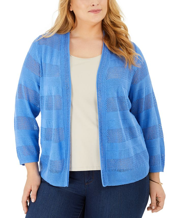 Charter Club - Plus Size Pointelle Stripe Cardigan Sweater
