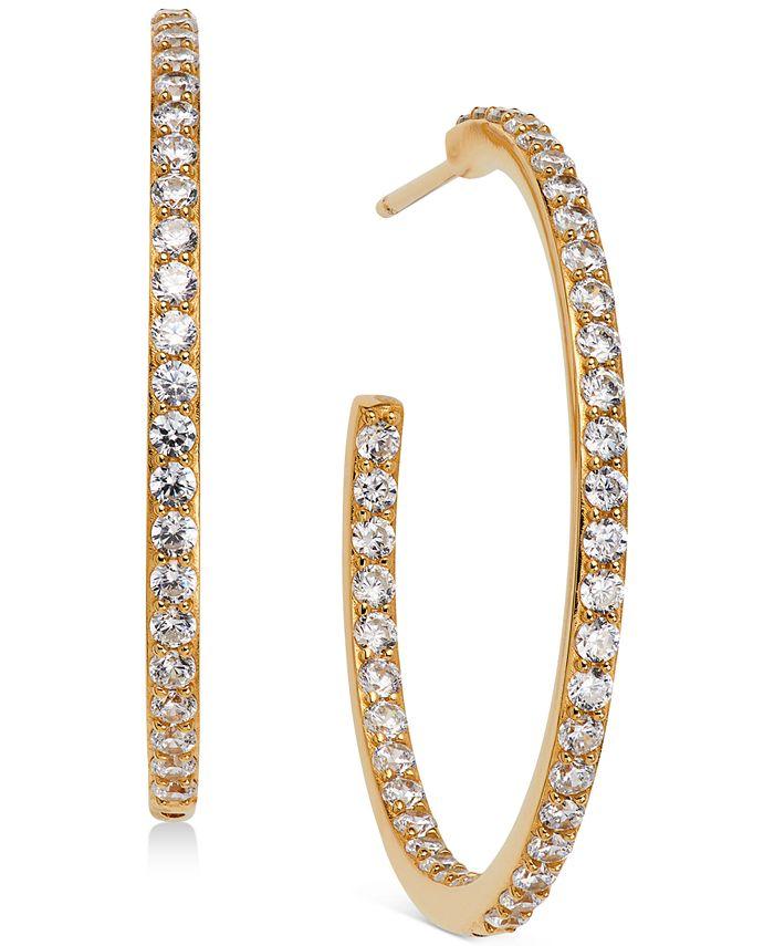 "AVA NADRI - 18k Gold-Plated Medium Cubic Zirconia In & Out Hoop Earrings, 1.125"""