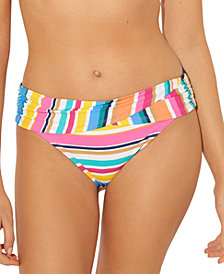 Bleu by Rod Beattie Striped Sarong Hipster Bikini Bottoms