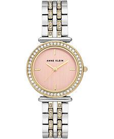 Anne Klein Women's Two-Tone Genuine Swarovski Crystal Bracelet Watch 30mm