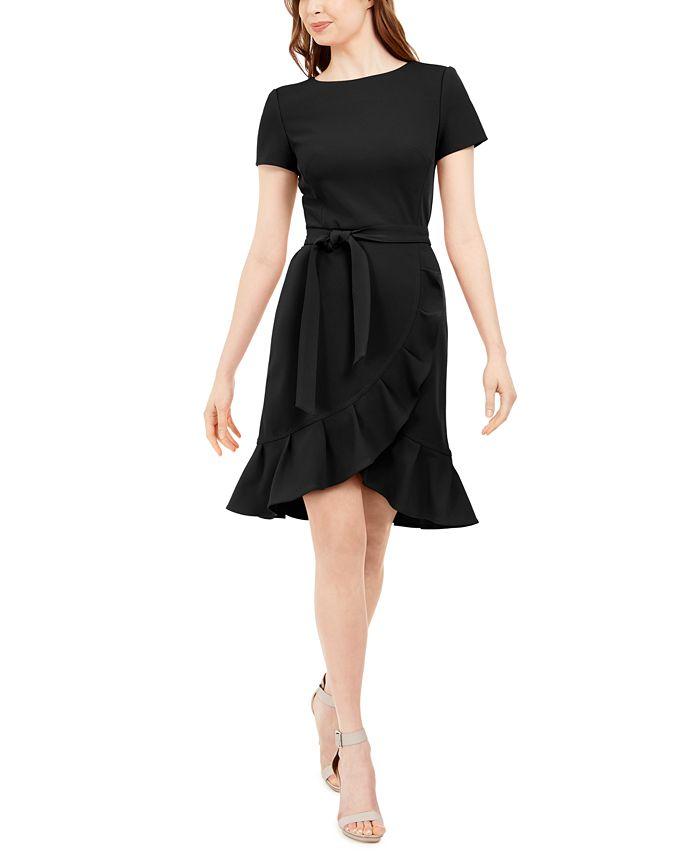 Calvin Klein - Ruffled Tulip-Hem Crepe Dress