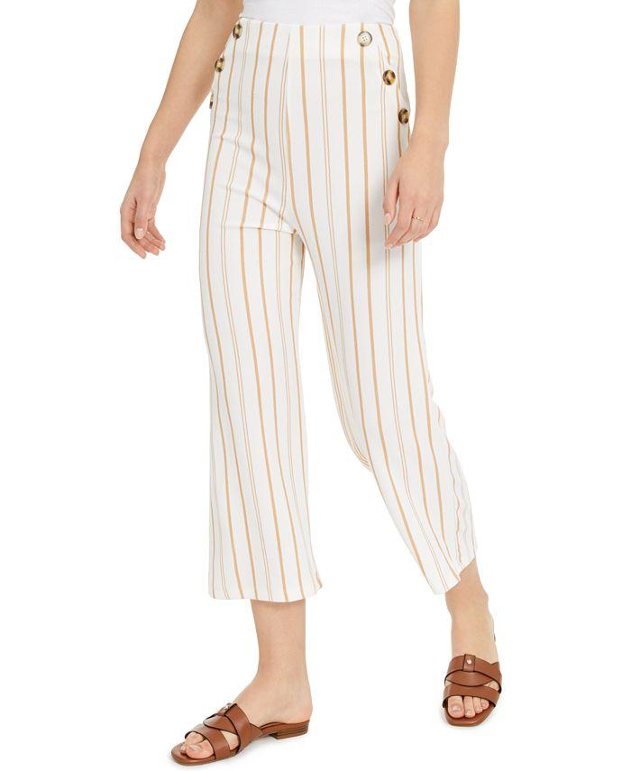 Derek Heart - Juniors' Striped High-Rise Cropped Sailor Pants