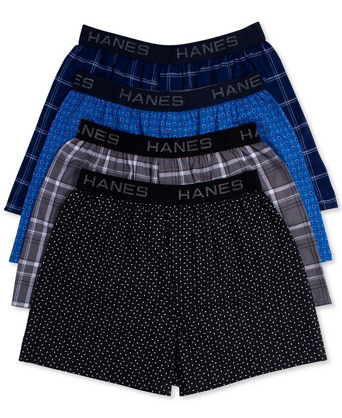 Hanes - Men's Underwear, Elastic Waitsband Plaid Woven Boxer 4 Pack