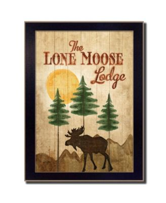 Lone Moose By Mollie B., Printed Wall Art, Ready to hang, Black Frame, 10