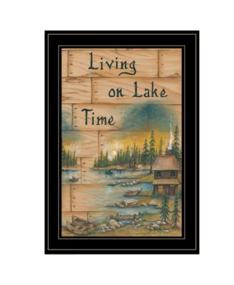 Living On The Lake by Mary June, Ready to hang Framed Print, Black Frame, 15