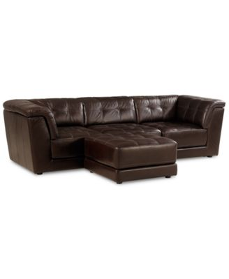 Stacey leather 5 piece modular sectional sofa 2 armless for Modular pit sectional sofa
