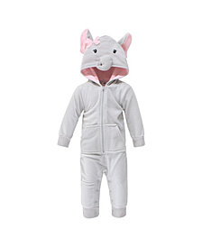 Hudson Baby Baby Girls Pretty Elephant Fleece Jumpsuits, Coveralls and Playsuits