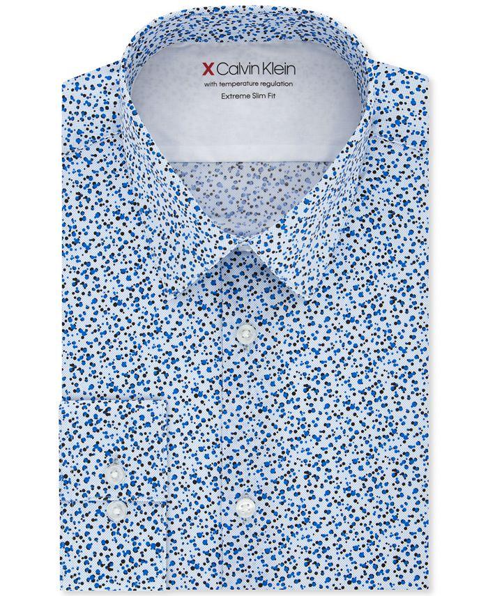 Calvin Klein - Men's Extra-Slim Fit Performance Stretch Empire Print Dress Shirt