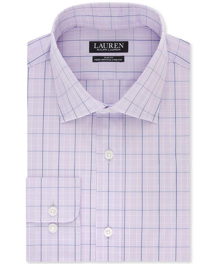 Lauren Ralph Lauren - Men's Slim-Fit Non-Iron UltraFlex Performance Stretch Lilac Check Dress Shirt
