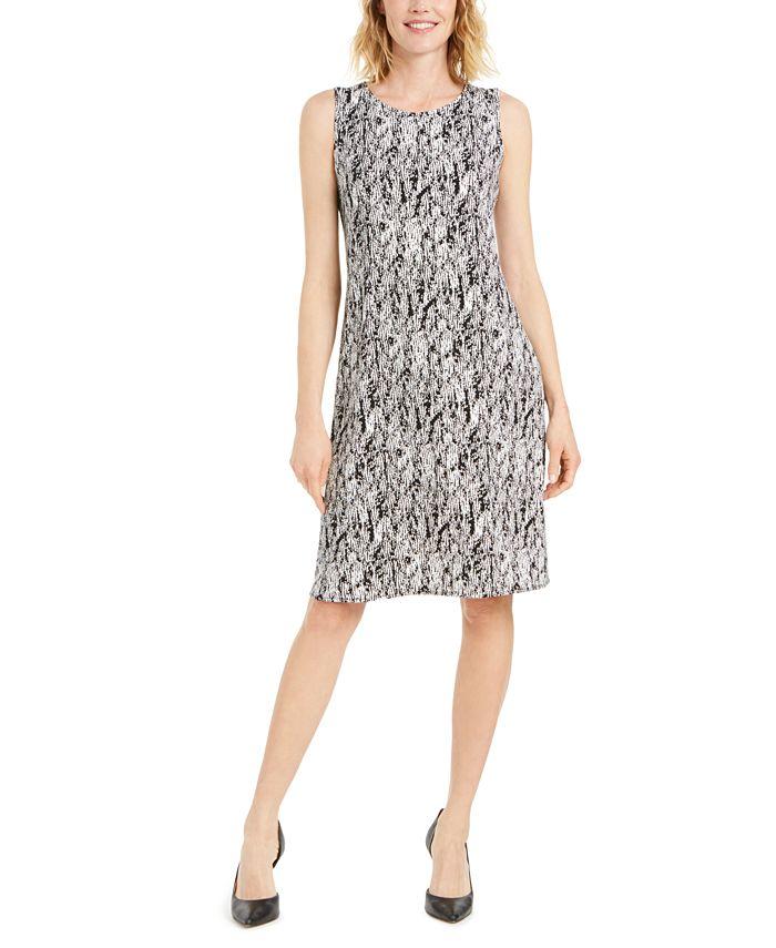 Alfani - Printed Scoop-Neck Dress