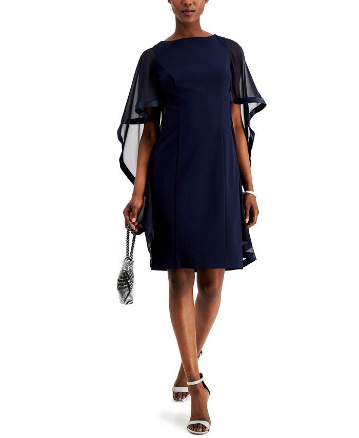 Jessica Howard - Crepe Cape Sheath Dress