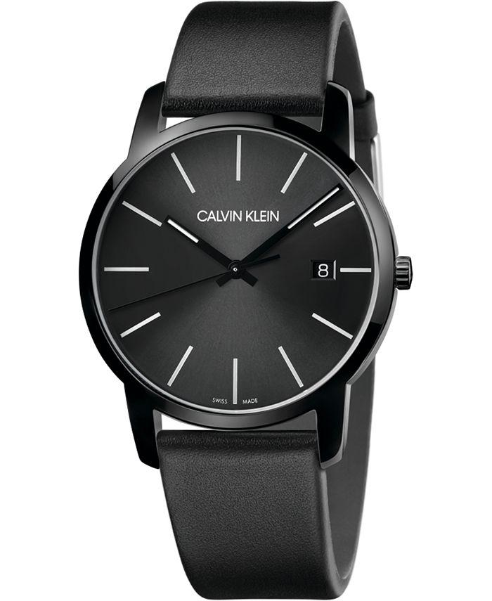 Calvin Klein - Men's City Black Leather Strap Watch 43mm