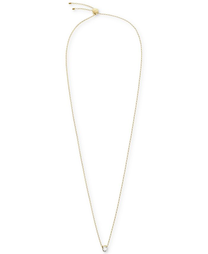 """Calvin Klein - Crystal Solitaire 28"""" Pendant Necklace in Gold-Tone PVD"""