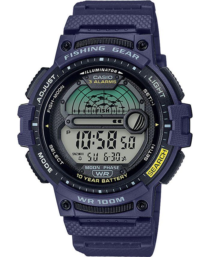 Casio - Men's Digital Fishing Gear Blue Resin Strap Watch 47mm