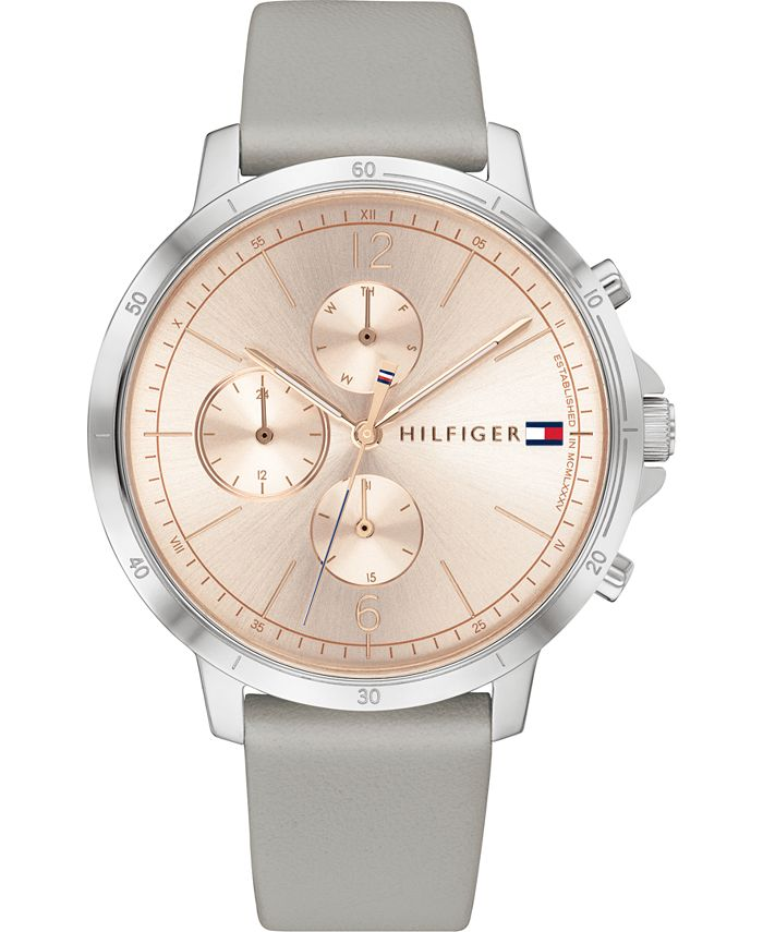 Tommy Hilfiger - Women's Chronograph Gray Leather Strap Watch 38mm