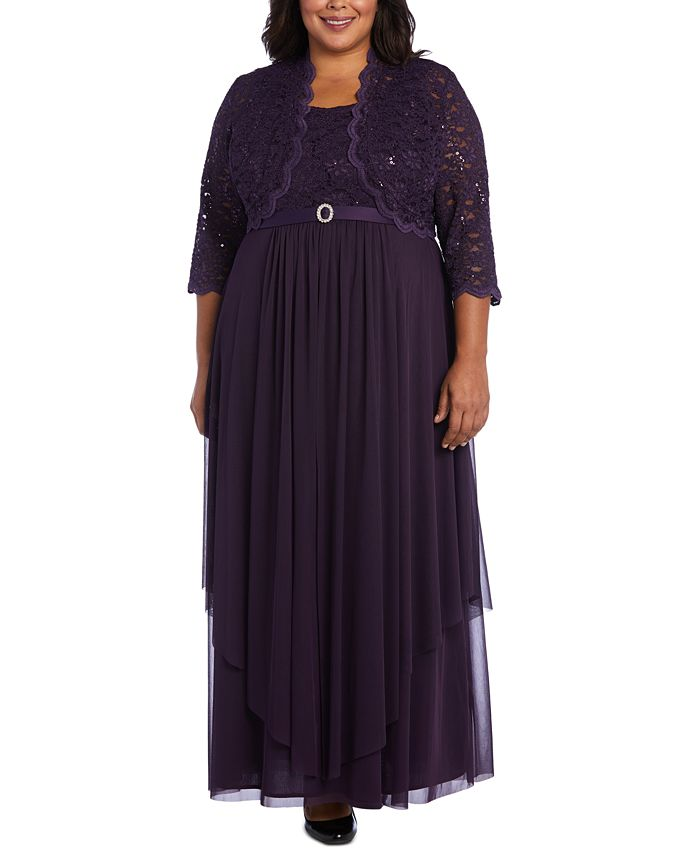 R & M Richards - Plus Size Embellished Gown & Lace Jacket