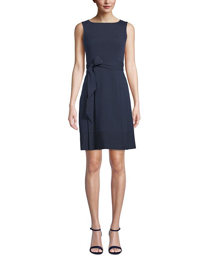 Anne Klein - Striped Seersucker Dress