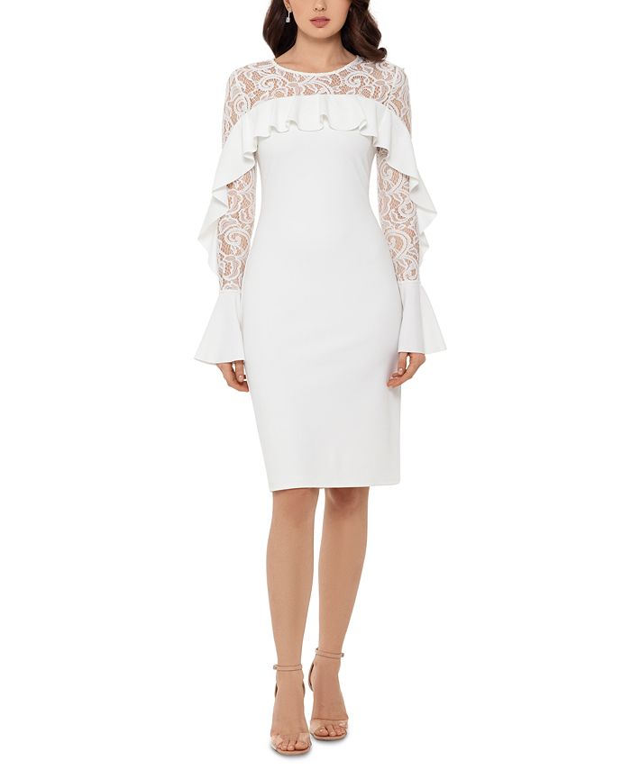 Betsy & Adam - Ruffled Lace-Yoke Sheath Dress