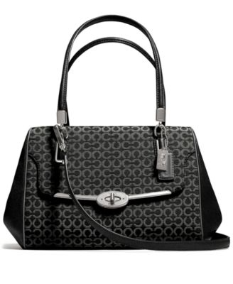 COACH MADISON SMALL MADELINE EAST/WEST SATCHEL IN OP ART NEEDLEPOINT FABRIC