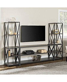 """Walker Edison 3-Piece Storage Wall with 60"""" X-Console"""