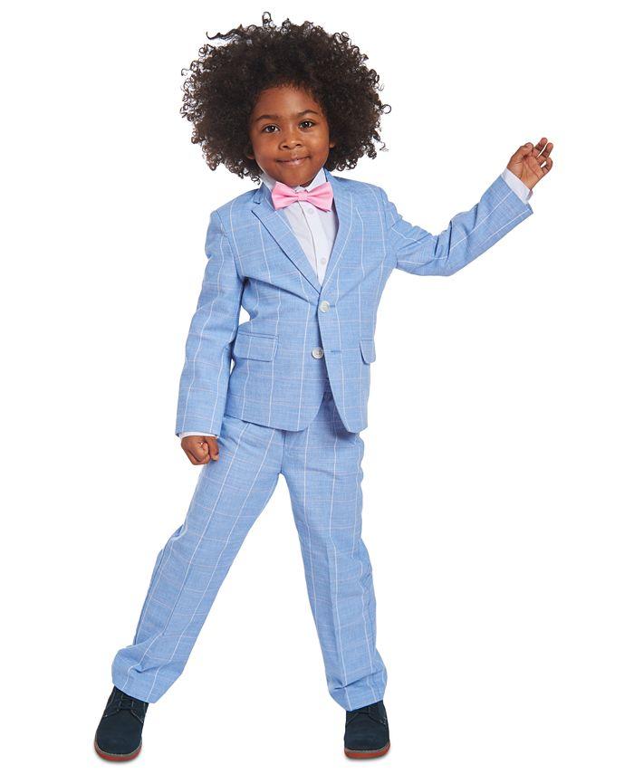 Nautica - Toddler Boys 4-Pc. Blue Windowpane Suit Set