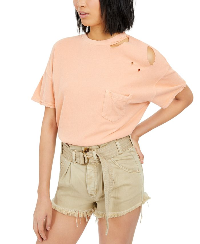 Free People - Rubi Ripped Cotton T-Shirt