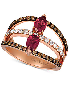 Le Vian® Raspberry Rhodolite Garnet (7/8 ct. t.w.) & Diamond (5/8 ct. t.w.) Statement Ring in 14k Rose Gold