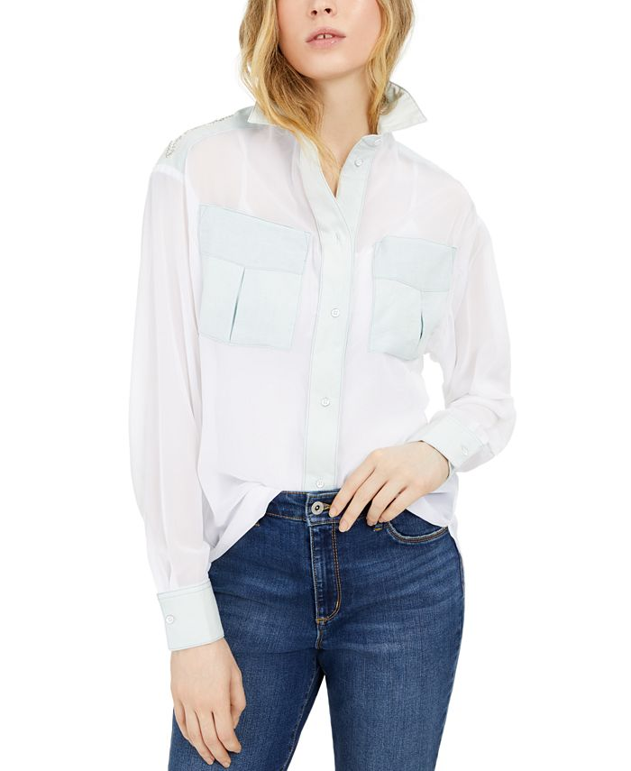 GUESS - Bessie Embellished Colorblocked Shirt
