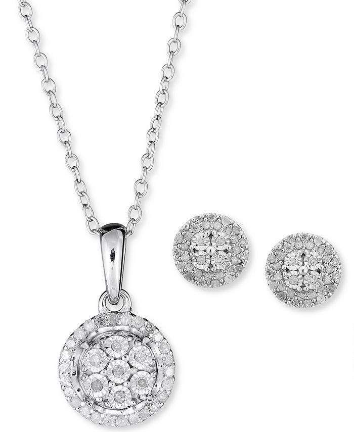 Macy's - 2-Pc. Set Diamond Cluster Pendant Necklace & Matching Stud Earrings in Sterling Silver