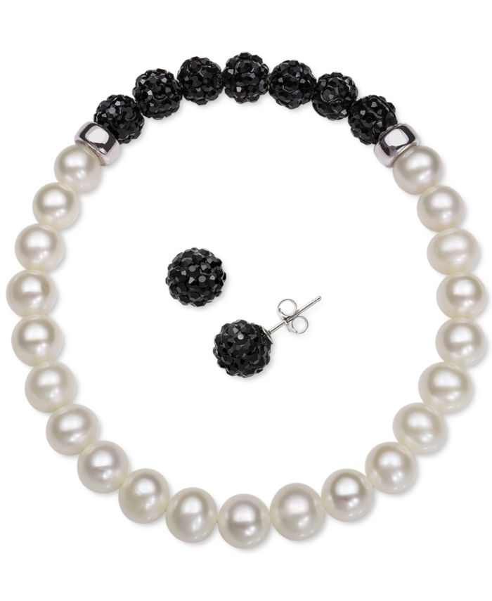 Macy's 2-Pc. Set Cultured Freshwater Pearl (6-7mm) & Crystal Stretch Bracelet & Matching Stud Earrings  & Reviews - Jewelry & Watches - Macy's