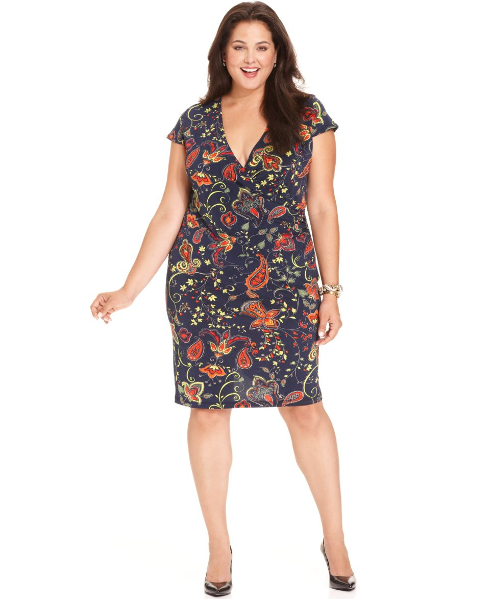 Jones New York Signature Plus Size Dress, Cap Sleeve Paisley Print ...