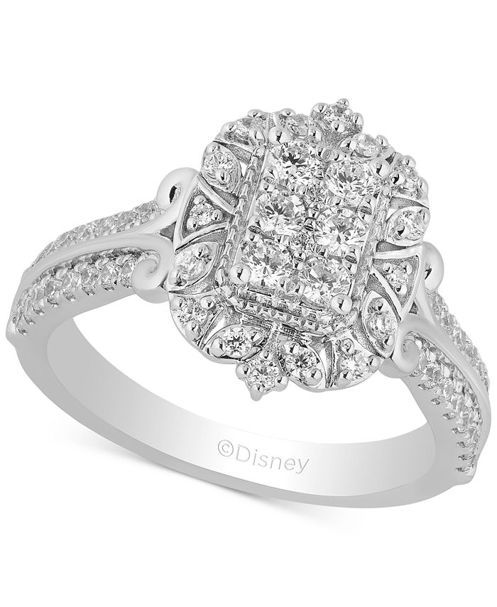 Enchanted Disney Fine Jewelry - Diamond Cinderella Cluster Ring (3/4 ct. t.w.) in 14k White Gold