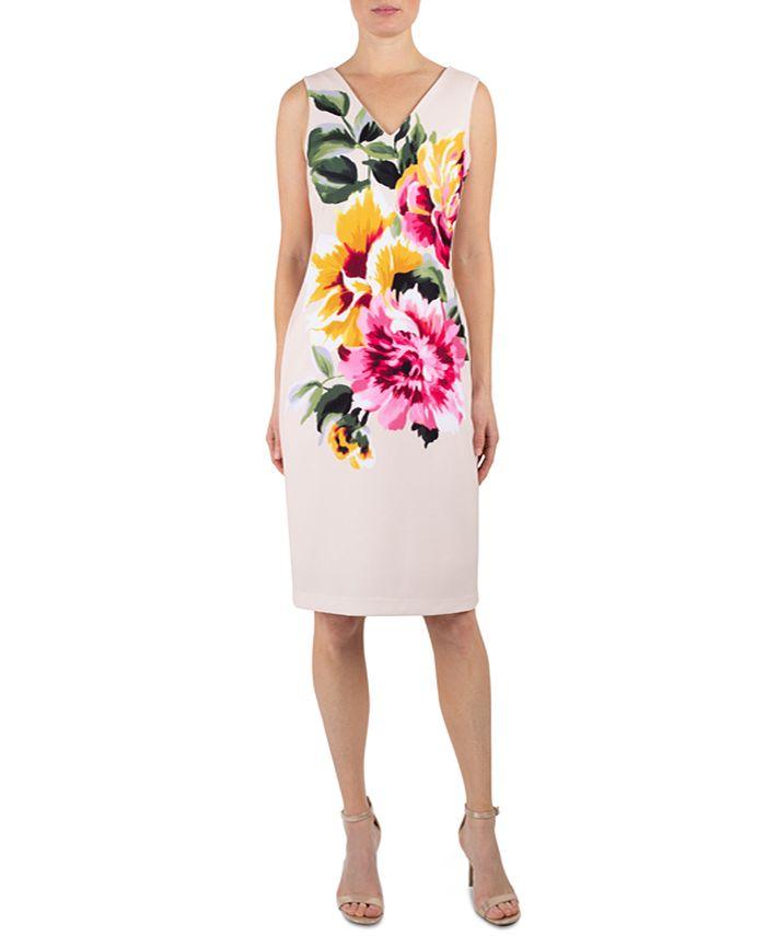 Donna Ricco - Floral Scuba Sheath Dress