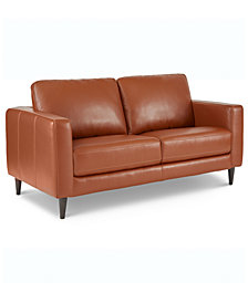 """Jennis 58"""" Leather Loveseat, Created for Macy's"""