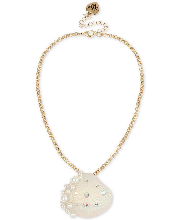 "Betsey Johnson - Gold-Tone Pavé & Imitation Pearl Seashell Pendant Necklace, 16"" + 3"" extender"