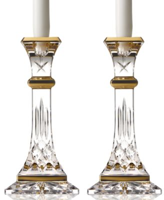 Waterford Gifts, Lismore Gold Candlestick Pair 8""