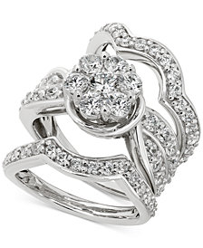 Diamond Cluster 3-Pc. Bridal Set (3 ct. t.w.) in 14k White gold