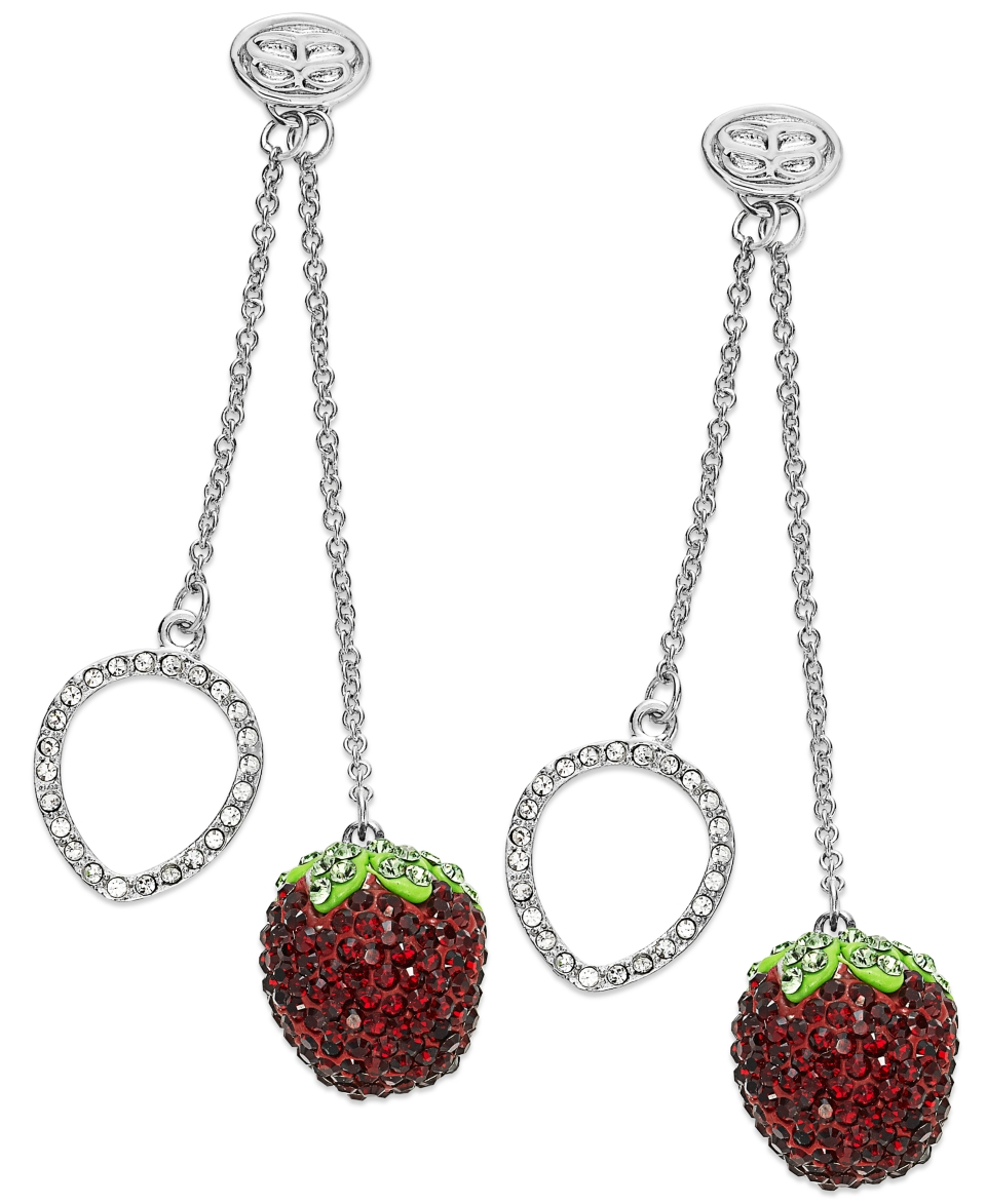 SIS by Simone I Smith Platinum over Sterling Silver Earrings, Crystal Strawberry Drop Earrings   Earrings   Jewelry & Watches